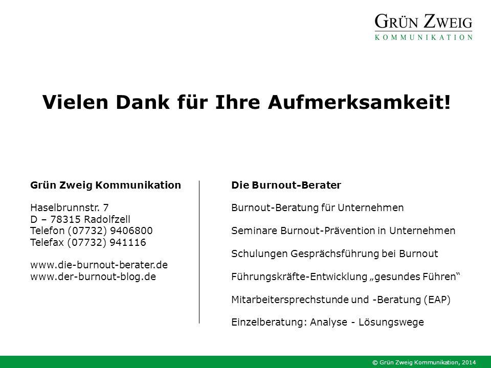 © Grün Zweig Kommunikation, 2014 Die Burnout-Berater Burnout-Beratung für Unternehmen Seminare Burnout-Prävention in Unternehmen Schulungen Gesprächsf