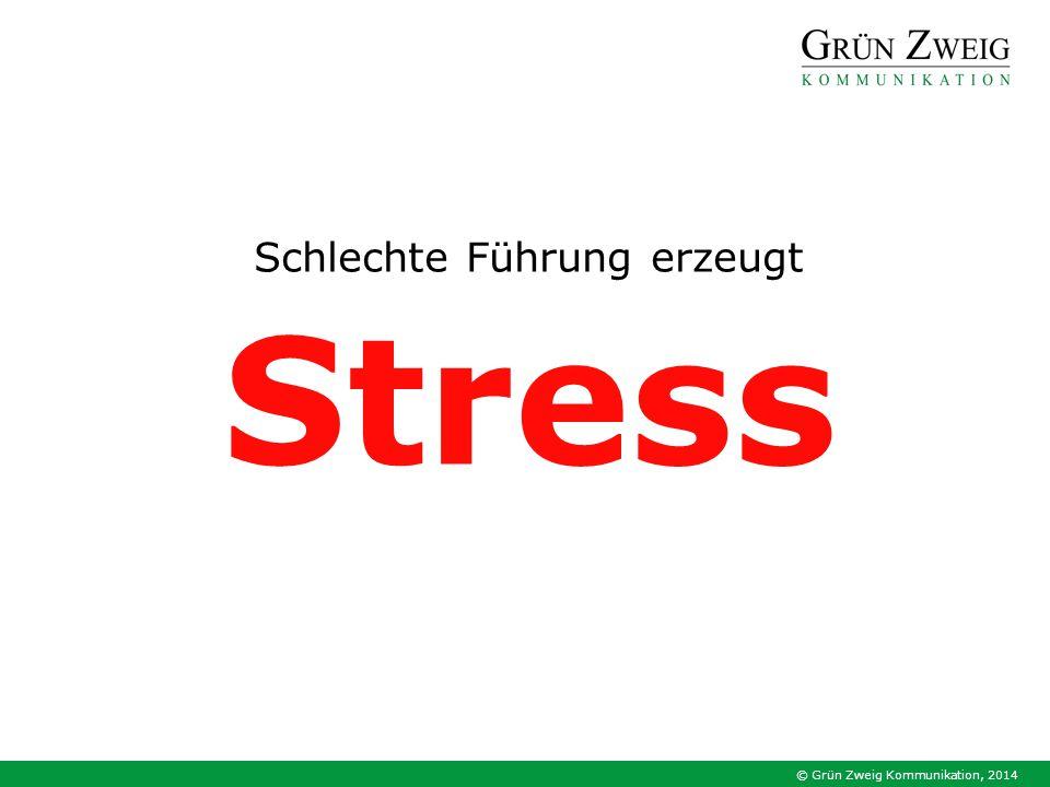 © Grün Zweig Kommunikation, 2014 Schlechte Führung erzeugt Stress