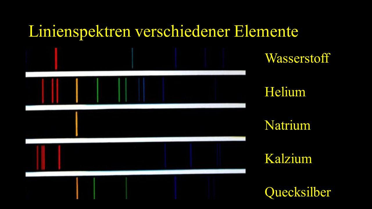 Linienspektren verschiedener Elemente Wasserstoff Helium Natrium Kalzium Quecksilber