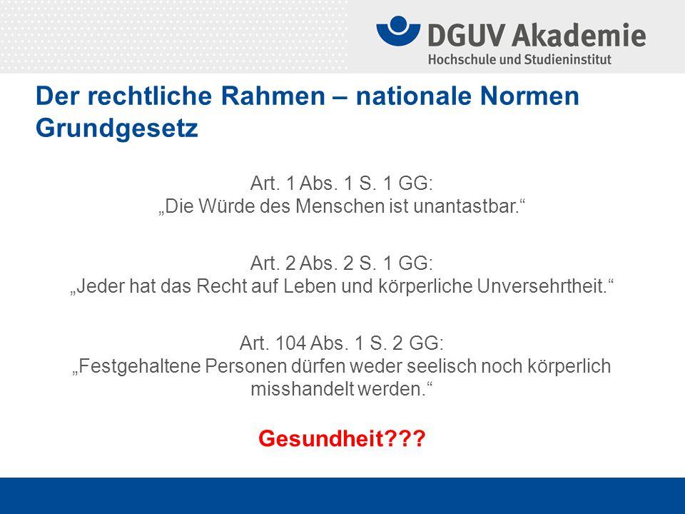 Der rechtliche Rahmen – nationale Normen Grundgesetz – körperliche Unversehrtheit Schutzbereich: Abwehrrecht gegen Eingriffe des Staates Schutzpflicht des Staates auch präventiv.