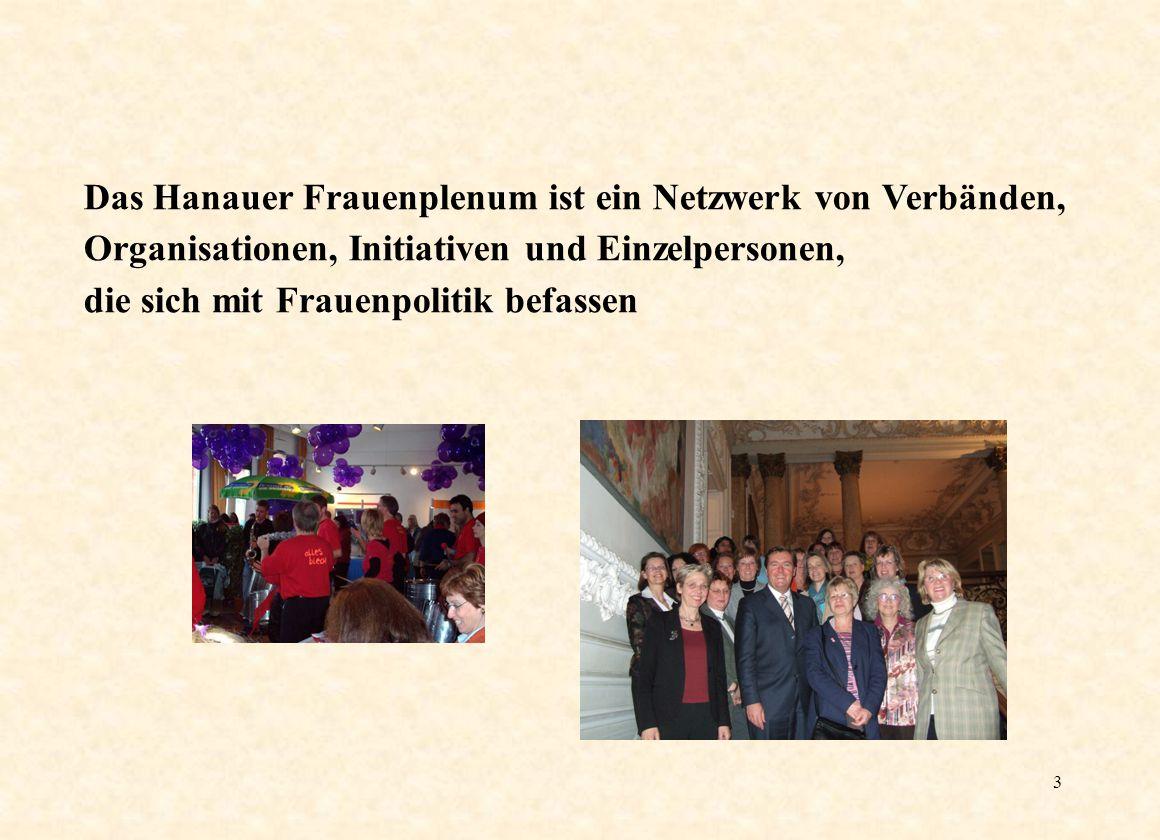 3 Das Hanauer Frauenplenum ist ein Netzwerk von Verbänden, Organisationen, Initiativen und Einzelpersonen, die sich mit Frauenpolitik befassen