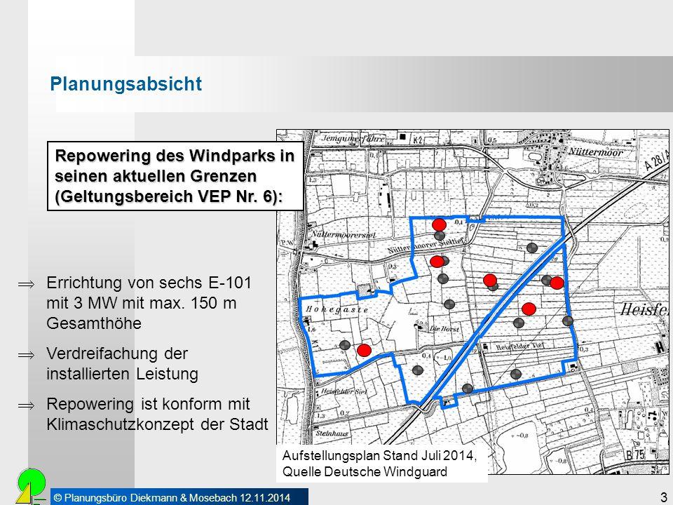 © Planungsbüro Diekmann & Mosebach 12.11.2014 3 Planungsabsicht Repowering des Windparks in seinen aktuellen Grenzen (Geltungsbereich VEP Nr. 6): Aufs