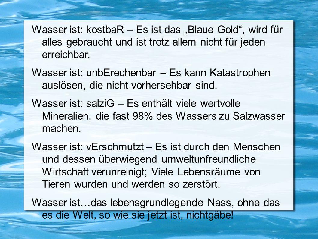 """Wasser ist: kostbaR – Es ist das """"Blaue Gold"""", wird für alles gebraucht und ist trotz allem nicht für jeden erreichbar. Wasser ist: unbErechenbar – Es"""