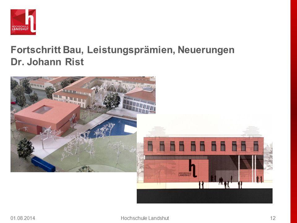 Fortschritt Bau, Leistungsprämien, Neuerungen Dr. Johann Rist 01.08.201412Hochschule Landshut