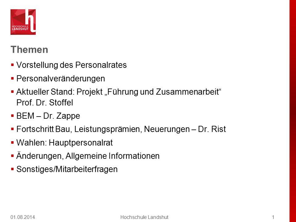 """Themen  Vorstellung des Personalrates  Personalveränderungen  Aktueller Stand: Projekt """"Führung und Zusammenarbeit"""" Prof. Dr. Stoffel  BEM – Dr. Z"""