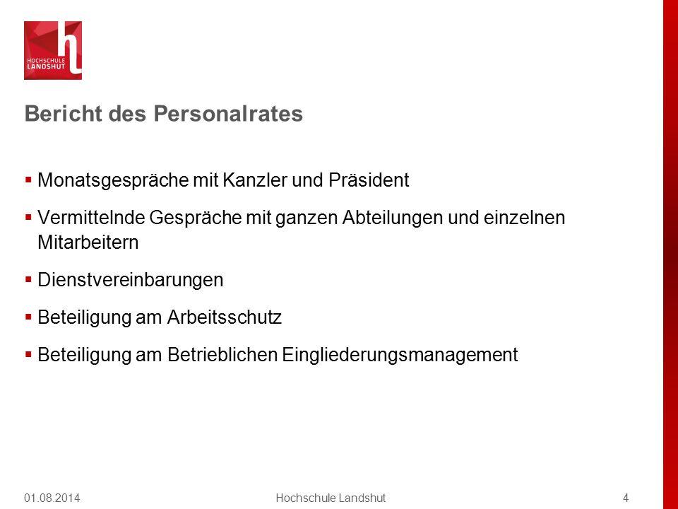 Bericht des Personalrates 01.08.20144Hochschule Landshut  Monatsgespräche mit Kanzler und Präsident  Vermittelnde Gespräche mit ganzen Abteilungen u