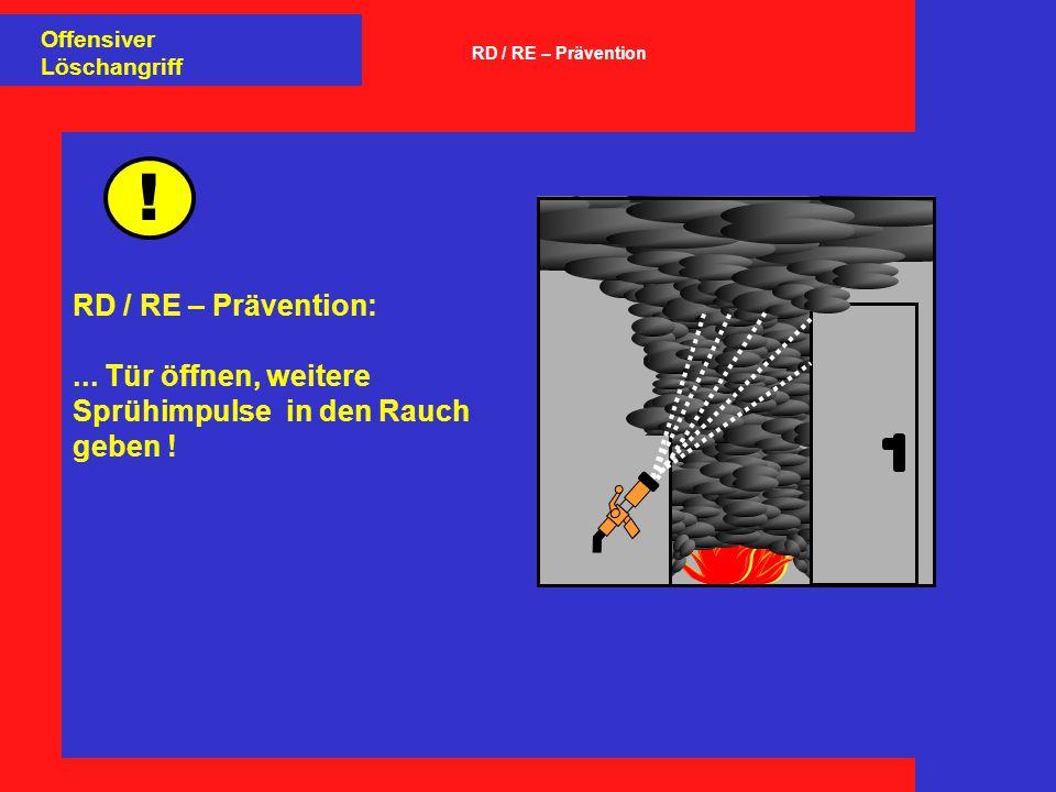 ! RD / RE – Prävention:... Tür öffnen, weitere Sprühimpulse in den Rauch geben ! Offensiver Löschangriff RD / RE – Prävention
