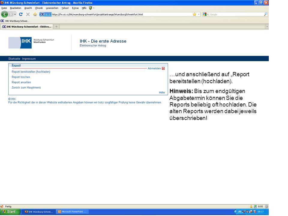 """…und anschließend auf """"Report bereitstellen (hochladen)."""