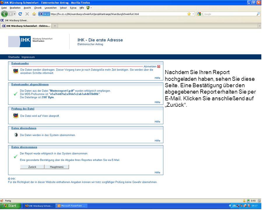 Nachdem Sie Ihren Report hochgeladen haben, sehen Sie diese Seite.