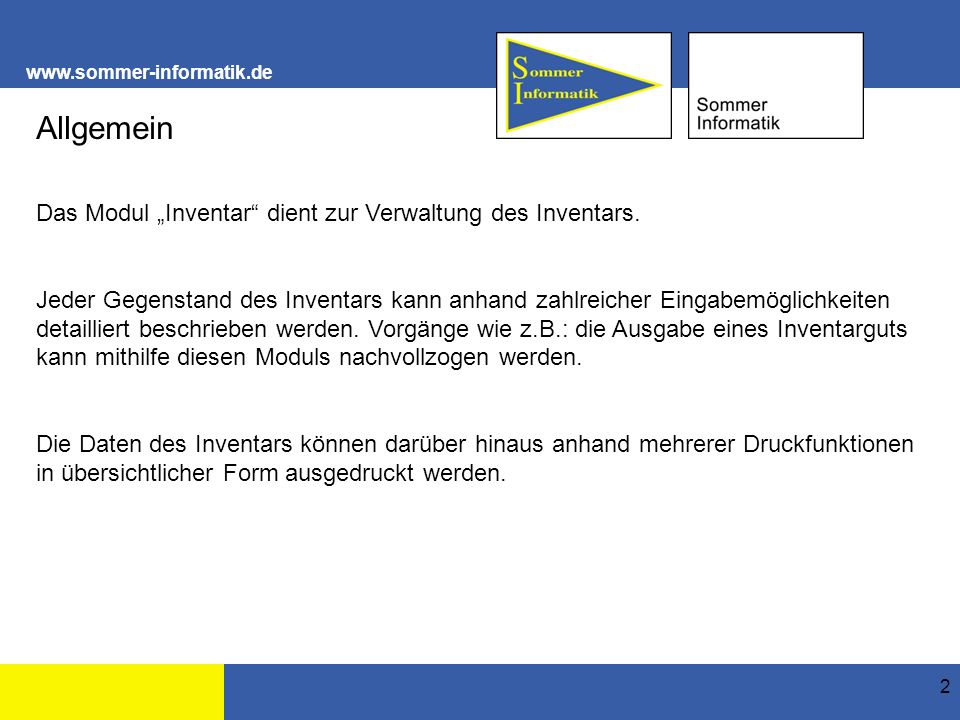 www.sommer-informatik.de 3 Struktur Inventarverwaltung