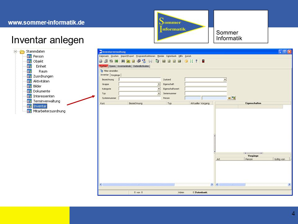 """www.sommer-informatik.de 35 Verbindlichkeiten Die Verbindlichkeit wurde dem Inventar """"Arbeitsplatz hinzugefügt."""