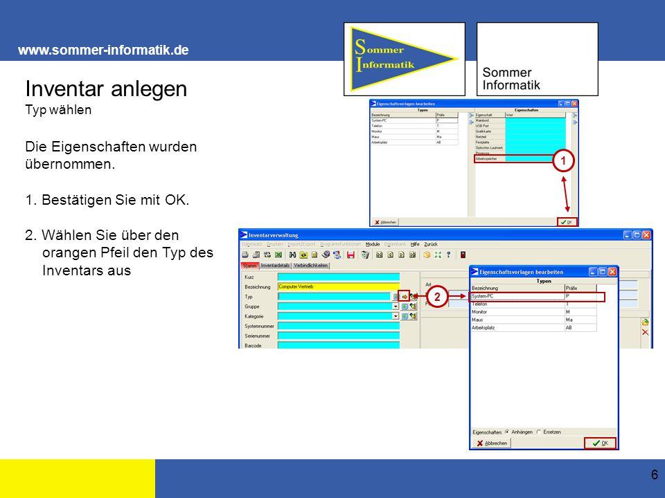www.sommer-informatik.de 17 Inventar anlegen Beispiel Monitor Vertrieb