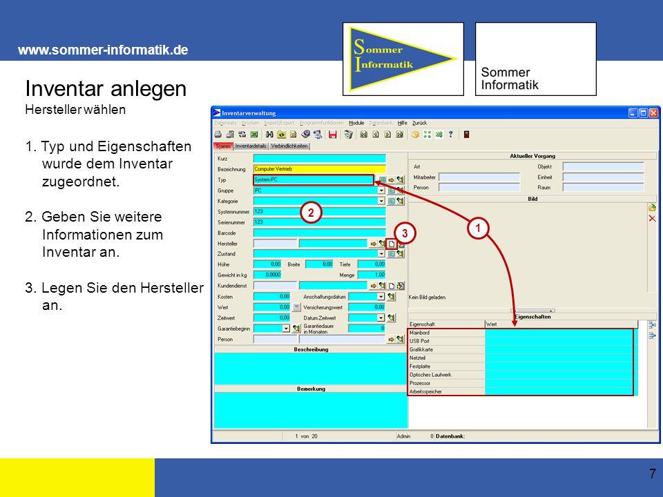 www.sommer-informatik.de 18 Inventar anlegen Beispiel Maus Vertrieb