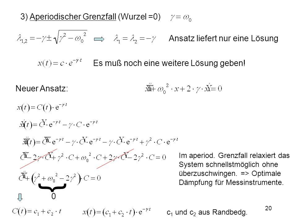 3) Aperiodischer Grenzfall (Wurzel =0) Ansatz liefert nur eine Lösung Es muß noch eine weitere Lösung geben! Neuer Ansatz: c 1 und c 2 aus Randbedg. I