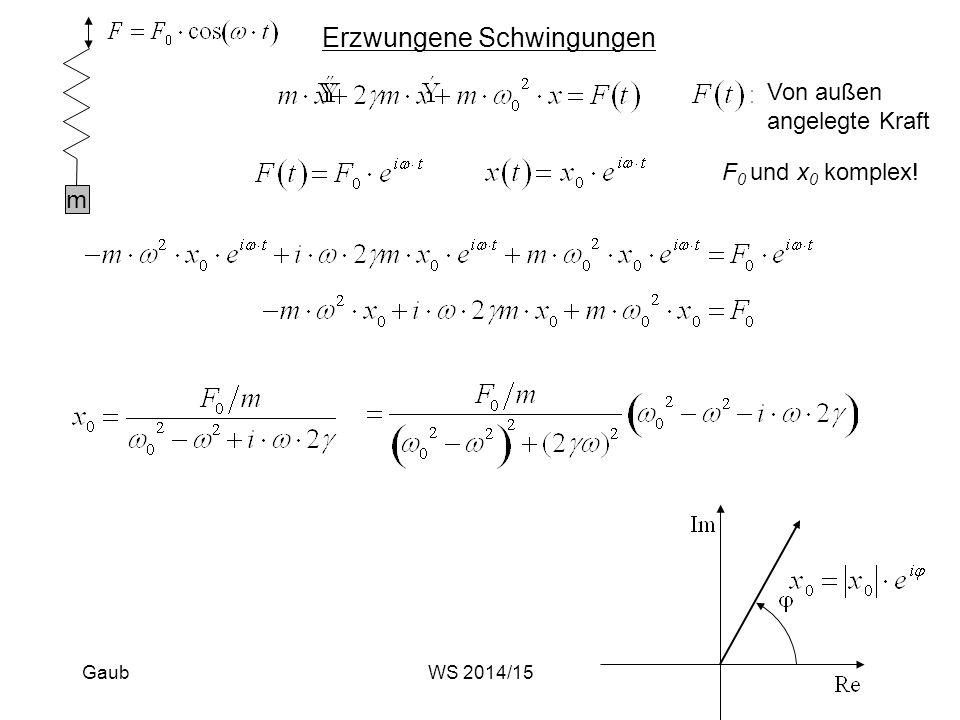 Erzwungene Schwingungen m Von außen angelegte Kraft F 0 und x 0 komplex! GaubWS 2014/15