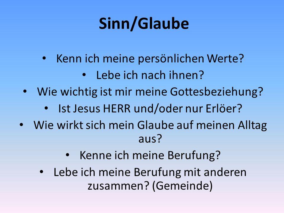 Sinn/Glaube Kenn ich meine persönlichen Werte? Lebe ich nach ihnen? Wie wichtig ist mir meine Gottesbeziehung? Ist Jesus HERR und/oder nur Erlöer? Wie
