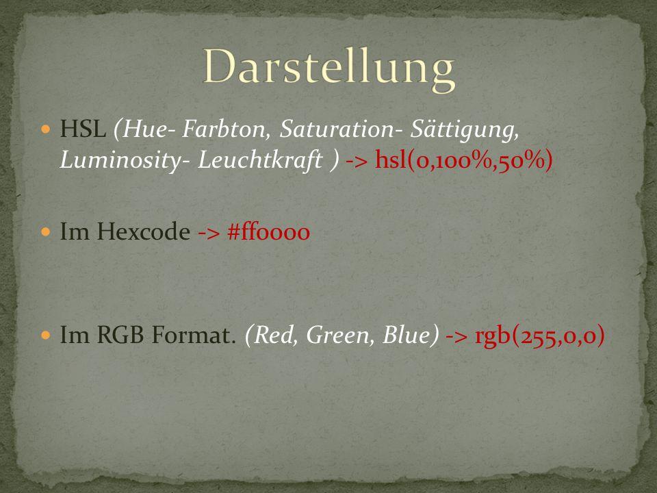Im Hexcode: Werden alle Zahlen als zweistellige, hexdezimal Zahl angegeben Die ersten 2 Zahlen geben die Rot, die zweiten 2 die Grün und die dritten 2 die Blau Intensivität an = Rot