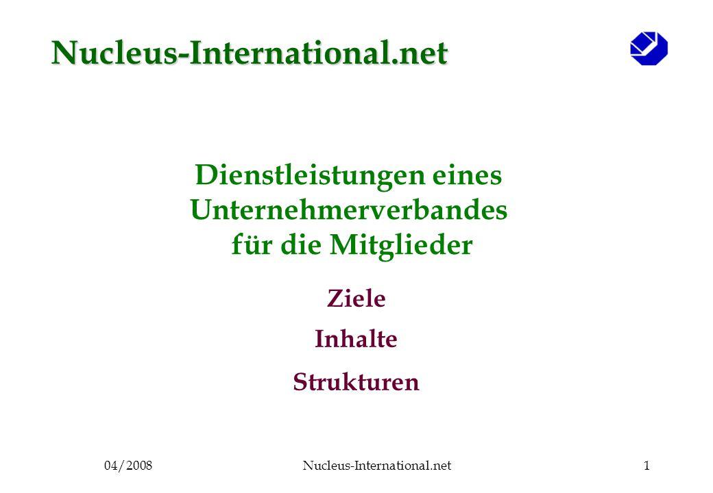04/2008Nucleus-International.net1 Dienstleistungen eines Unternehmerverbandes für die Mitglieder Ziele Inhalte Strukturen Nucleus-International.net