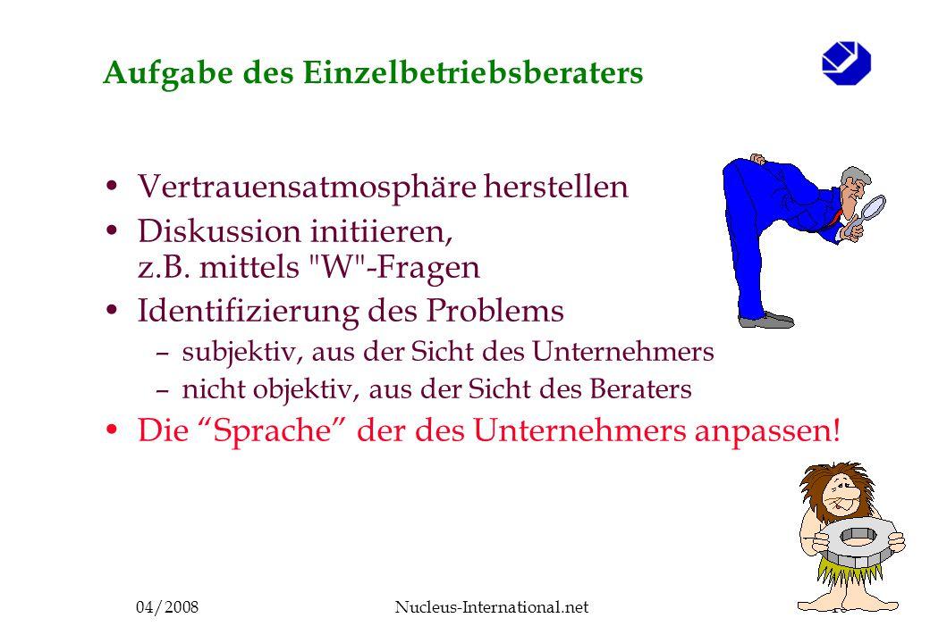 04/2008Nucleus-International.net10 Aufgabe des Einzelbetriebsberaters Vertrauensatmosphäre herstellen Diskussion initiieren, z.B.
