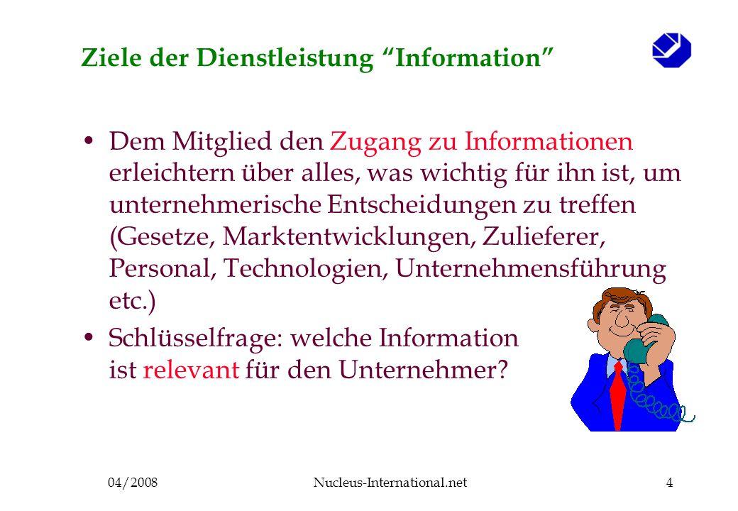 04/2008Nucleus-International.net4 Ziele der Dienstleistung Information Dem Mitglied den Zugang zu Informationen erleichtern über alles, was wichtig für ihn ist, um unternehmerische Entscheidungen zu treffen (Gesetze, Marktentwicklungen, Zulieferer, Personal, Technologien, Unternehmensführung etc.) Schlüsselfrage: welche Information ist relevant für den Unternehmer