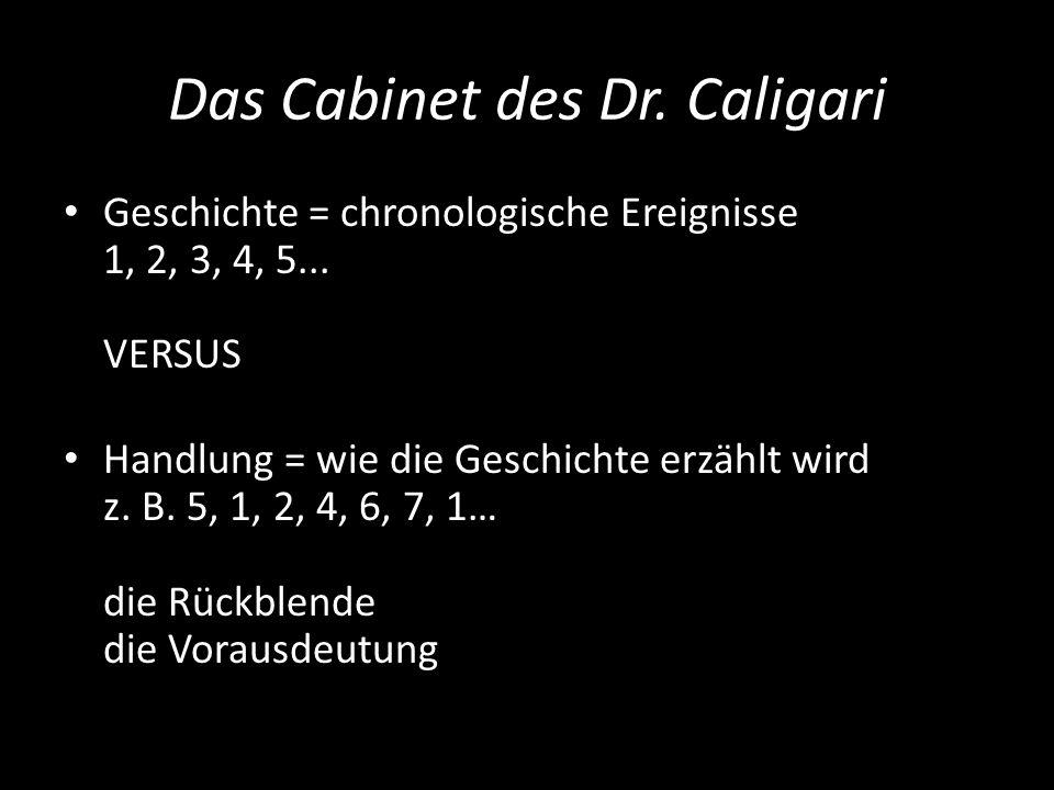 Das Cabinet des Dr. Caligari Geschichte = chronologische Ereignisse 1, 2, 3, 4, 5... VERSUS Handlung = wie die Geschichte erzählt wird z. B. 5, 1, 2,