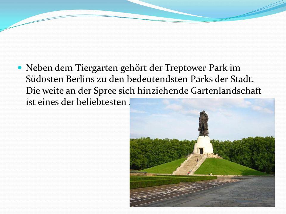 Neben dem Tiergarten gehört der Treptower Park im Südosten Berlins zu den bedeutendsten Parks der Stadt. Die weite an der Spree sich hinziehende Garte