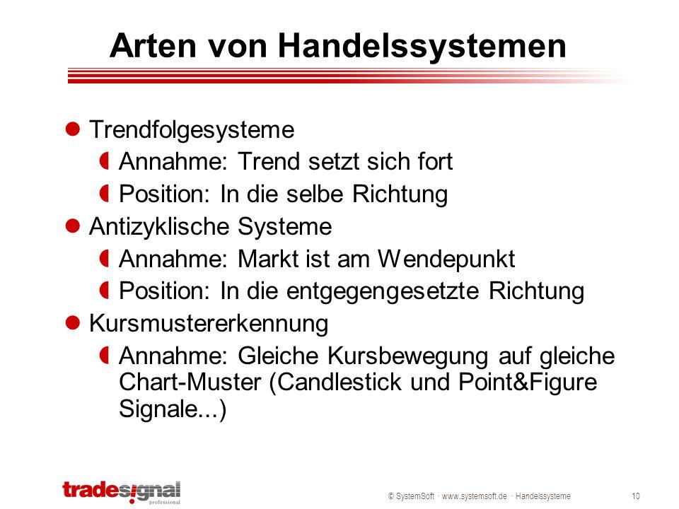 © SystemSoft · www.systemsoft.de · Handelssysteme10 Arten von Handelssystemen Trendfolgesysteme  Annahme: Trend setzt sich fort  Position: In die se
