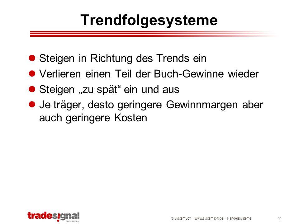 © SystemSoft · www.systemsoft.de · Handelssysteme11 Trendfolgesysteme Steigen in Richtung des Trends ein Verlieren einen Teil der Buch-Gewinne wieder