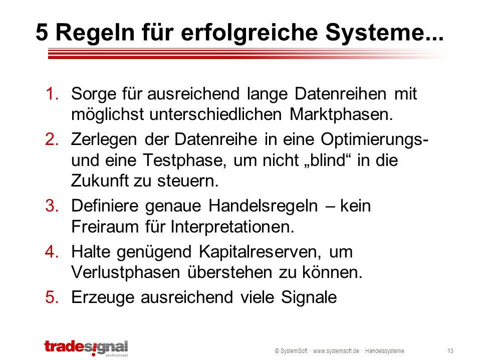 © SystemSoft · www.systemsoft.de · Handelssysteme13 5 Regeln für erfolgreiche Systeme... 1.Sorge für ausreichend lange Datenreihen mit möglichst unter