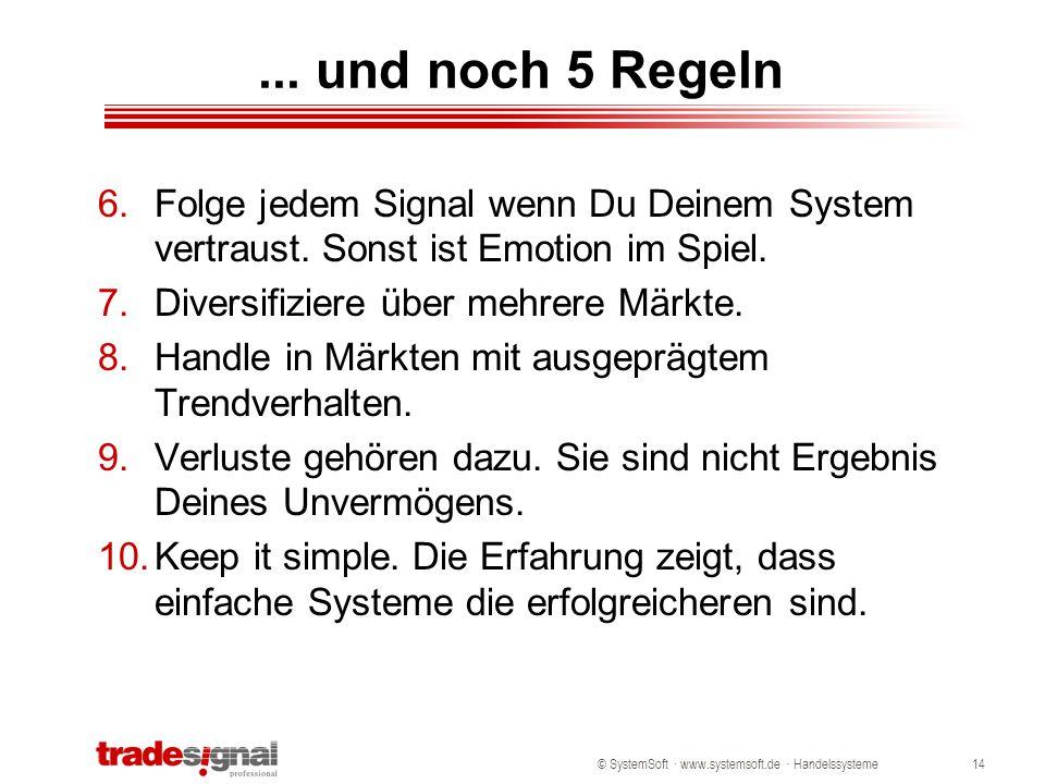 © SystemSoft · www.systemsoft.de · Handelssysteme14... und noch 5 Regeln 6.Folge jedem Signal wenn Du Deinem System vertraust. Sonst ist Emotion im Sp