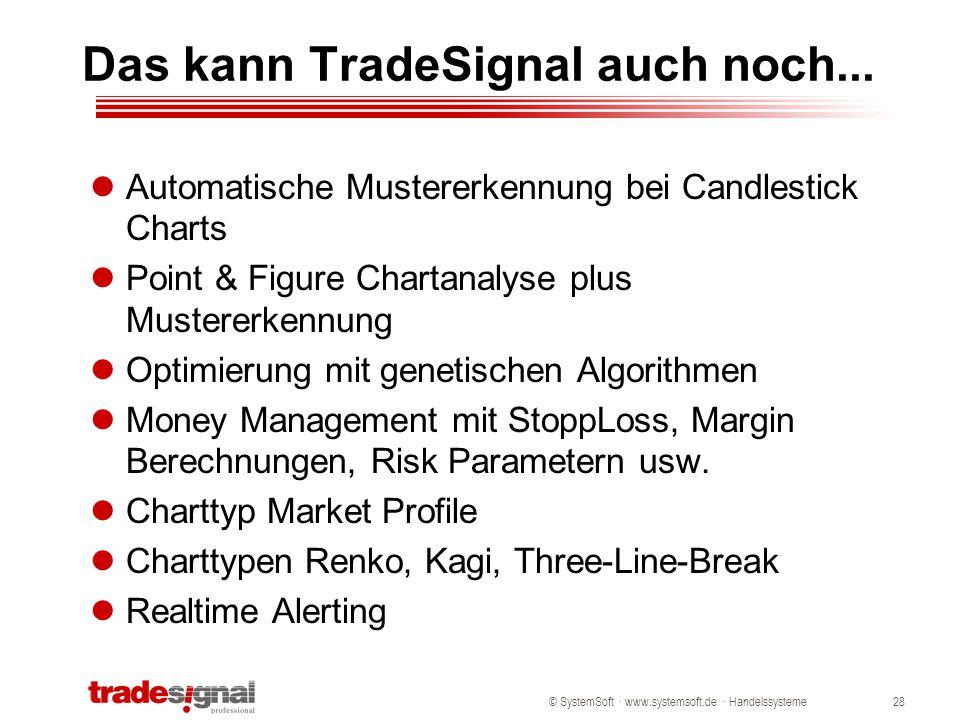 © SystemSoft · www.systemsoft.de · Handelssysteme28 Das kann TradeSignal auch noch... Automatische Mustererkennung bei Candlestick Charts Point & Figu