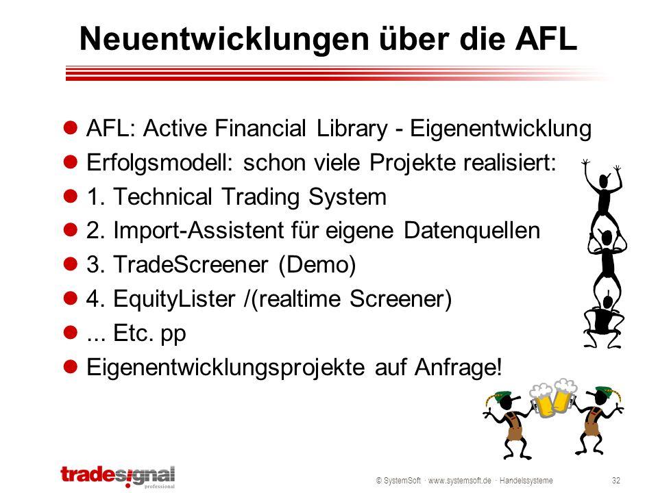 © SystemSoft · www.systemsoft.de · Handelssysteme32 Neuentwicklungen über die AFL AFL: Active Financial Library - Eigenentwicklung Erfolgsmodell: scho