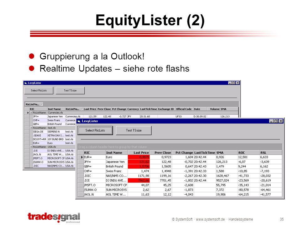 © SystemSoft · www.systemsoft.de · Handelssysteme35 EquityLister (2) Gruppierung a la Outlook! Realtime Updates – siehe rote flashs