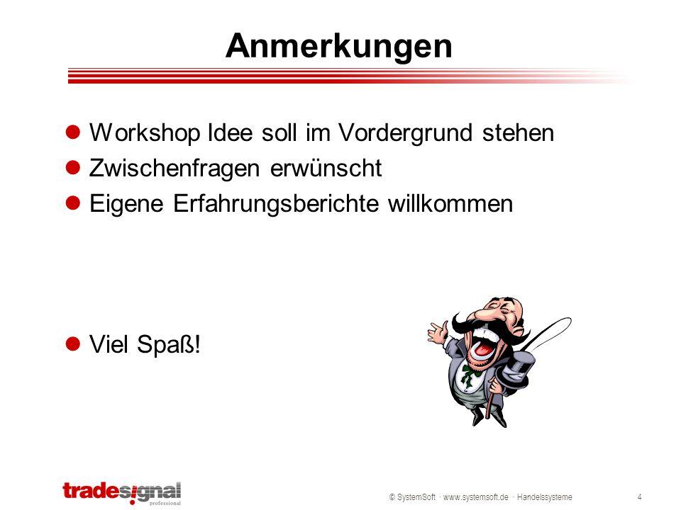 © SystemSoft · www.systemsoft.de · Handelssysteme4 Anmerkungen Workshop Idee soll im Vordergrund stehen Zwischenfragen erwünscht Eigene Erfahrungsberi