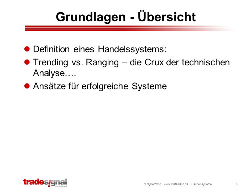 © SystemSoft · www.systemsoft.de · Handelssysteme6 Grundlagen - Übersicht Definition eines Handelssystems: Trending vs. Ranging – die Crux der technis