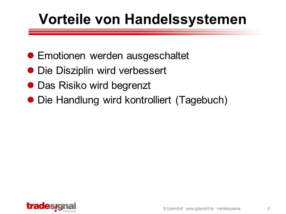"""© SystemSoft · www.systemsoft.de · Handelssysteme9 Nachteile von Handelssystemen Kein System arbeitet fehlerfrei Das Marktverhalten der Vergangenheit muss sich nicht zwangsläufig weiter fortsetzen Neigung zum """"curve fitting Die meisten erfolgreichen Handelssysteme sind trendfolgend."""
