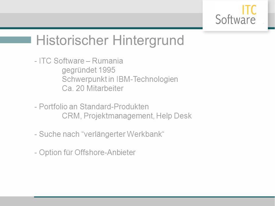 Historischer Hintergrund - ITC Software – Rumania gegründet 1995 Schwerpunkt in IBM-Technologien Ca. 20 Mitarbeiter - Portfolio an Standard-Produkten