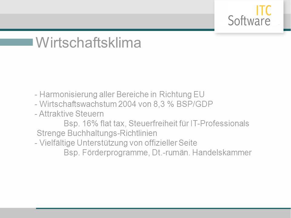 Wirtschaftsklima - Harmonisierung aller Bereiche in Richtung EU - Wirtschaftswachstum 2004 von 8,3 % BSP/GDP - Attraktive Steuern Bsp. 16% flat tax, S