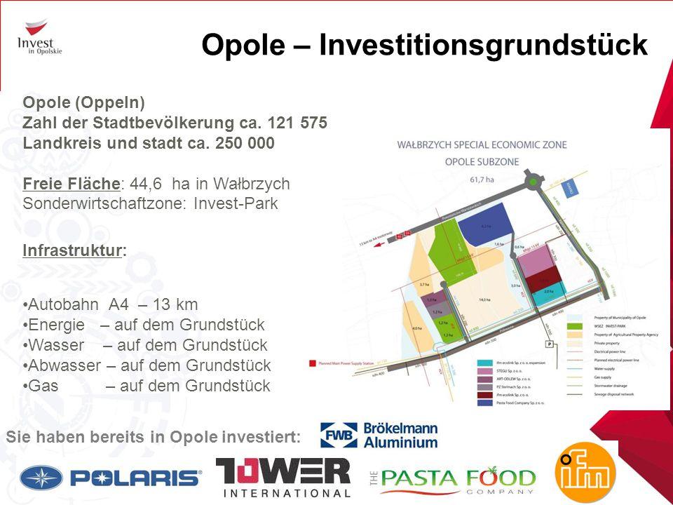 Opole – Investitionsgrundstück Opole (Oppeln) Zahl der Stadtbevölkerung ca. 121 575 Landkreis und stadt ca. 250 000 Freie Fläche: 44,6 ha in Wałbrzych