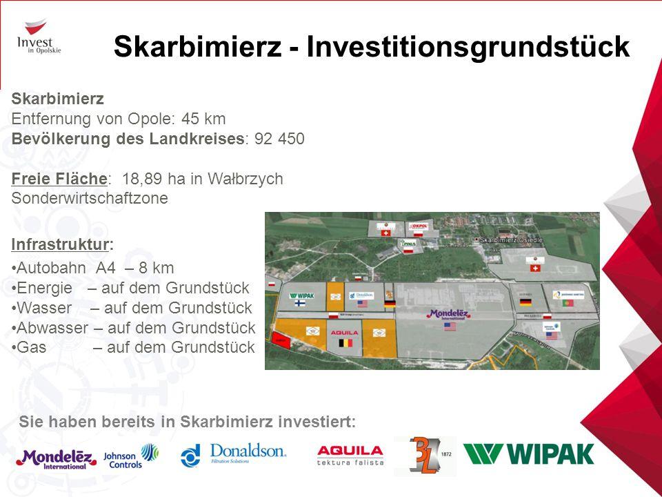 Skarbimierz - Investitionsgrundstück Skarbimierz Entfernung von Opole: 45 km Bevölkerung des Landkreises: 92 450 Freie Fläche: 18,89 ha in Wałbrzych S