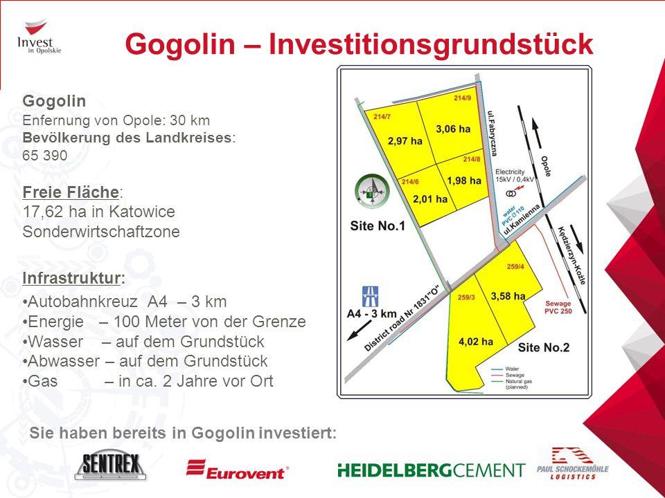 Gogolin – Investitionsgrundstück Gogolin Enfernung von Opole: 30 km Bevölkerung des Landkreises: 65 390 Freie Fläche: 17,62 ha in Katowice Sonderwirts