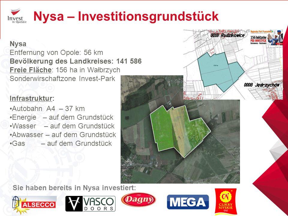 Nysa – Investitionsgrundstück Nysa Entfernung von Opole: 56 km Bevölkerung des Landkreises: 141 586 Freie Fläche: 156 ha in Wałbrzych Sonderwirschaftz