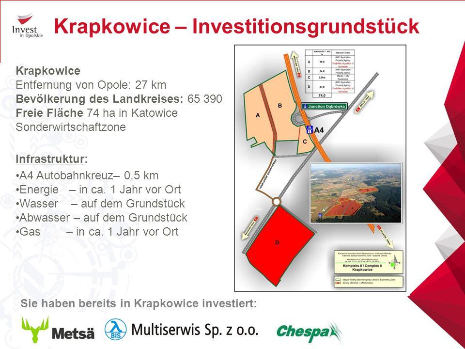 Krapkowice – Investitionsgrundstück Krapkowice Entfernung von Opole: 27 km Bevölkerung des Landkreises: 65 390 Freie Fläche 74 ha in Katowice Sonderwi