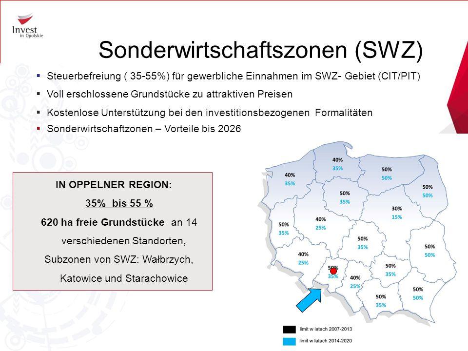Sonderwirtschaftszonen (SWZ)  Steuerbefreiung ( 35-55%) für gewerbliche Einnahmen im SWZ- Gebiet (CIT/PIT)  Voll erschlossene Grundstücke zu attrakt