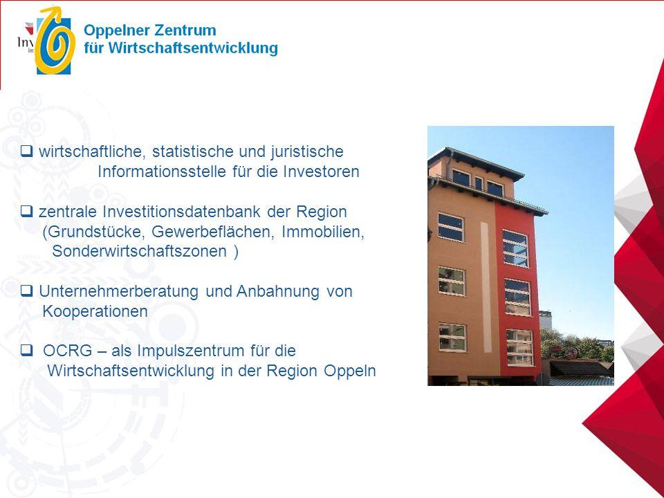  wirtschaftliche, statistische und juristische Informationsstelle für die Investoren  zentrale Investitionsdatenbank der Region (Grundstücke, Gewerb