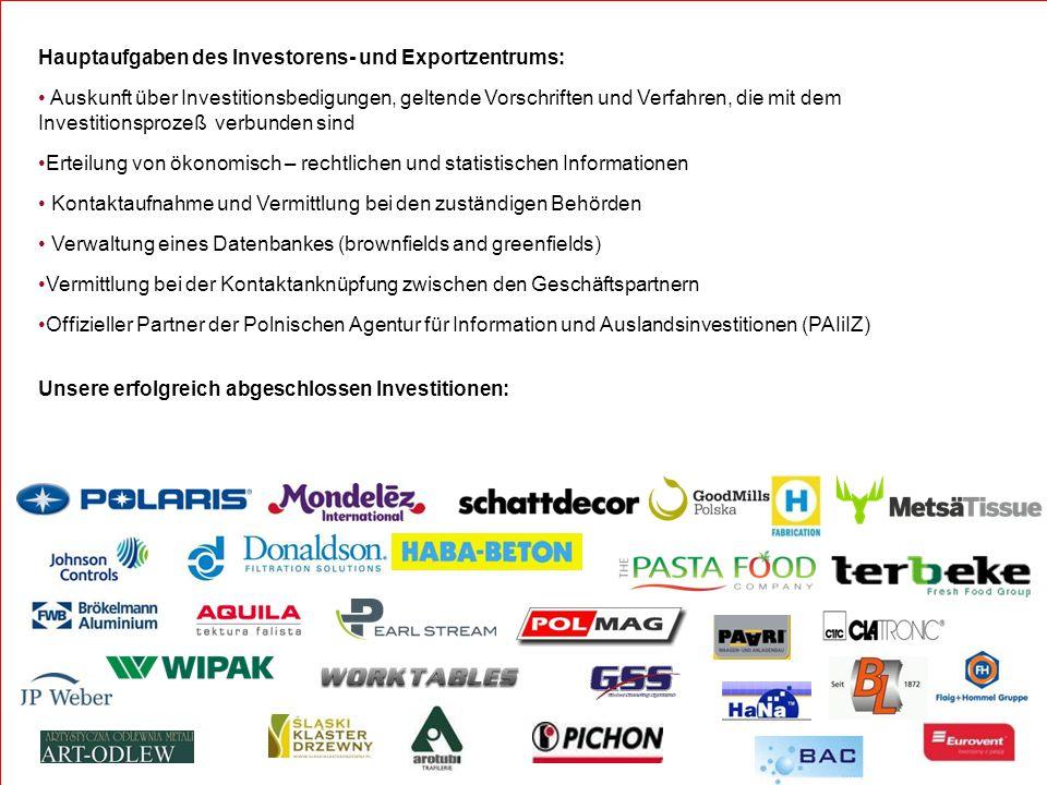 Hauptaufgaben des Investorens- und Exportzentrums: Auskunft über Investitionsbedigungen, geltende Vorschriften und Verfahren, die mit dem Investitions