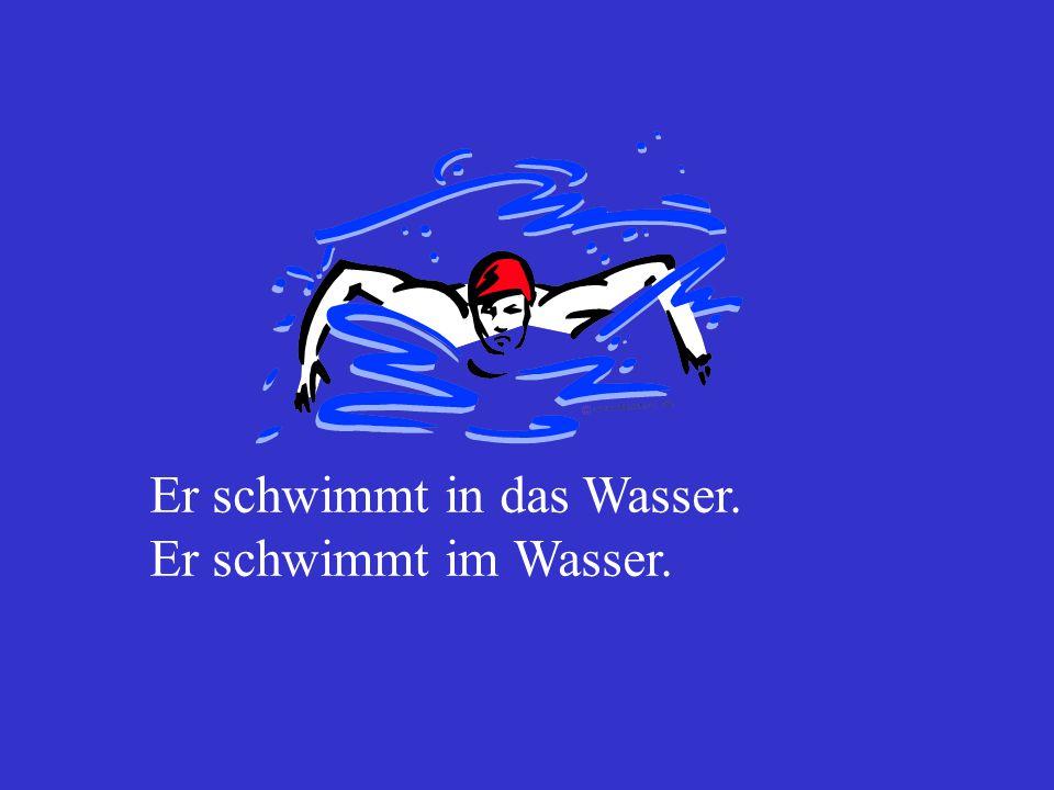 1. Er springt in das Wasser. 2. Er springt im Wasser.