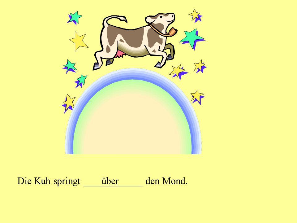 Die Kuh springt ____________ den Mond.über
