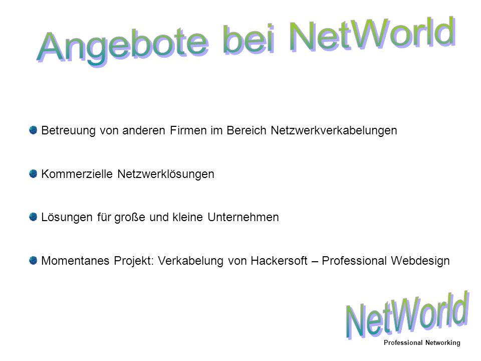 Betreuung von anderen Firmen im Bereich Netzwerkverkabelungen Kommerzielle Netzwerklösungen Lösungen für große und kleine Unternehmen Momentanes Projekt: Verkabelung von Hackersoft – Professional Webdesign Professional Networking