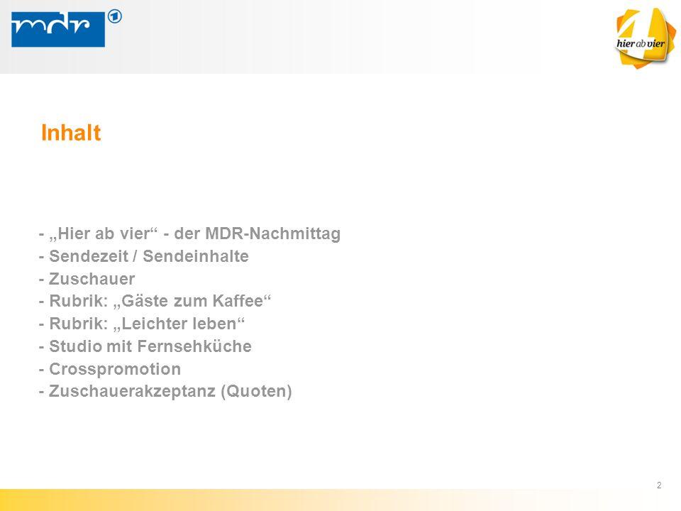 """2 - """"Hier ab vier"""" - der MDR-Nachmittag - Sendezeit / Sendeinhalte - Zuschauer - Rubrik: """"Gäste zum Kaffee"""" - Rubrik: """"Leichter leben"""" - Studio mit Fe"""